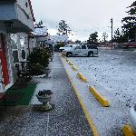 front of motel (parking area)