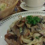 Chicken Ham Fettucine Carbonara and Mushroom Soup