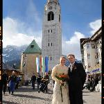  This is us in the centre of town just after being married in Cortina!