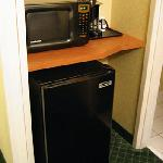 microwave, frig & hidden coffee maker