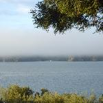 View from the deck -- the morning fog