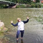 Dipping the toes in the nearby Neckar River
