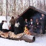  Around the fire after the ceremony