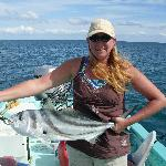 Stefanie with a big roosterfish