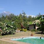 At the pool -- Mt Meru in the background