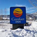 Hotel sign in snow