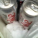 keeping the diet coke cold with snow.
