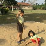 My kids played with the sand in front of my chalet.