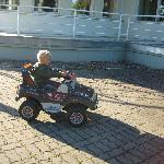My kid on a rented car!