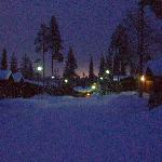Ruka Log Cabins by twilight