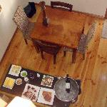 Kitchen and dining room from above