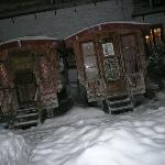 Night shot of the caravans with 3 feet snow drifts