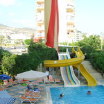 view of pool and slides