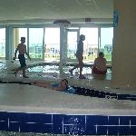 Indoor lazy river, pool, and hot tub