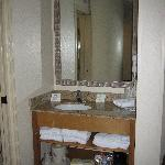 mirror, towels, toiletries, coffee maker etc.