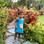  My daughter inside the resot lawn
