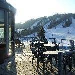 View of balcony overlooking Mont Habitant ski hill