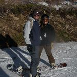 Husband and I snowboarding