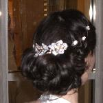  The back of my  updo, complete with crystal accessories.