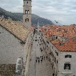 View from atop Pile Gate -- Apts are in the building straight across the Stradun from the Bell T