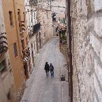  View from our balcony into the narrow medieval streets