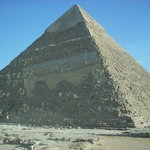 The Pyramid of Khafre from a coach window.