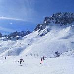 La Mongie - bottom slopes, nursery slopes in foreground, lower part of the Slalom run
