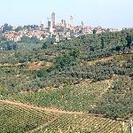 View of San Gimignano on the road to the house
