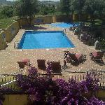 View from room to swimming pool