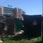  the view from the room, dumpsters and Lambeau