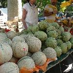 Huge artichokes and small melons at the market