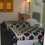 King single beds (wide single beds), large room, desk & chair, wardrobe, in room safe, bench sea