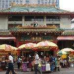 Chinese and Hindu temple near pedestrian walk