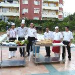 Chefs and Fhatti (restaurant manager) at the barbecue/grill