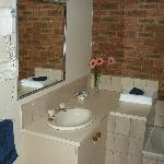 Large sized washroom, with tub and separate shower