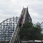 Timber Wolf''s lift hill.  Prepare to be beaten!