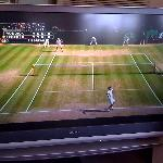 Watching Federer vs Roddick in the breakfast room :o)