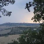 The view of Pienza on a stormy evening.