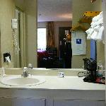  Vanity &amp; Coffe Pot in room at Comfort INN