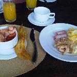 The breakfast buffet included on the fare. Shrimp Cocktail..Wow