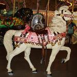 Wooden horse carving on carousel