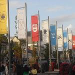 The town square in Galway, with tribes&#39; flags