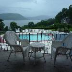 View of Hudson and pool from outside our room