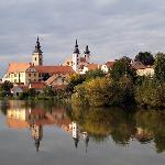 Telc from the front of the hotel - evening sun