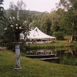  The wedding tent along the pond