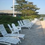 Silver Sands deck chairs facing Shelter Island
