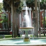 The fountain & Sampson Hall