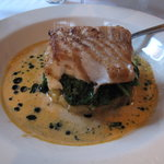 Cod/lobster dish with spinach, potatoes and cream