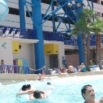 In the wave pool looking at the lockers and bathrooms
