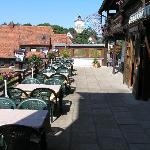 Patio where you can eat and drink at the front of the hotel